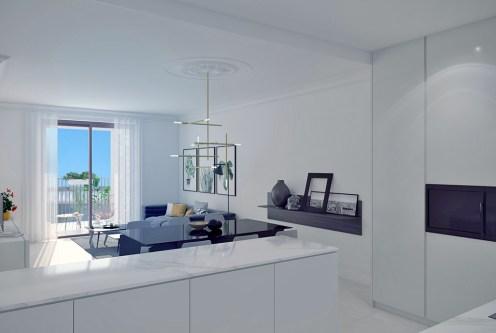 zaprojektowany w nowoczesnym stylu salon w ekskluzywnym apartamencie do sprzedaży Hiszpania (Orihuel)