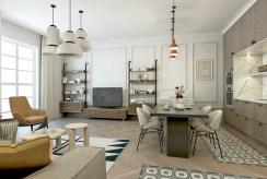 widok z innej perspektywy na salon w luksusowym apartamencie na sprzedaż Kalisz