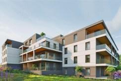 tylna elewacja apartamentowca, gdzie mieści się oferowany do sprzedaży ekskluzywny apartament Mazury