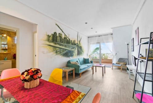 okazały pokój dzienny w luksusowym apartamencie na sprzedaż Hiszpania (Costa Blanca, Cabo Roig)