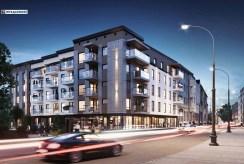 nocna wizualizacja od ulicy budynku, gdzie mieści się oferowany do sprzedaży ekskluzywny apartament do sprzedaży Legnica