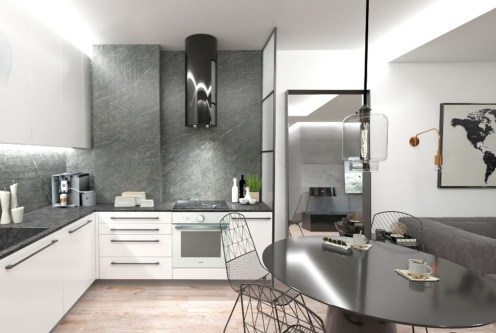 funkcjonalnie zabudowana kuchnia w ekskluzywnym apartamencie do sprzedaży Bolesławiec