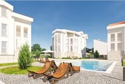 na pierwszym planie basen przy apartamentowcu, w którym mieści się oferowany do sprzedaży ekskluzywny apartament Chorwacja (Sovlje)