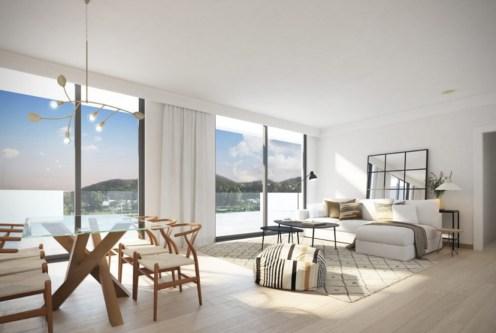 przestronny, słoneczny pokój dzienny w luksusowym apartamencie na sprzedaż Hiszpania (Fuengirola, Malaga, Costa del Sol)