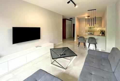 zaprojektowane w nowoczesnym designie wnętrze ekskluzywnego apartamentu do wynajęcia Inowrocław