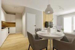 na pierwszym planie elegancka jadalnia w luksusowym apartamencie na sprzedaż Szczecin