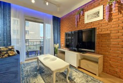 zbliżenie na pokój gościnny w ekskluzywnym apartamencie na wynajem Szczecin