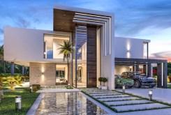 na pierwszym planie basen przy luksusowej willi do sprzedaży w Hiszpanii (Costa del Sol, Malaga)