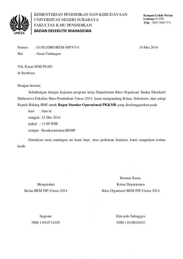 37 Contoh Surat Undangan Osis Perusahaan Sekolah Rt Dan