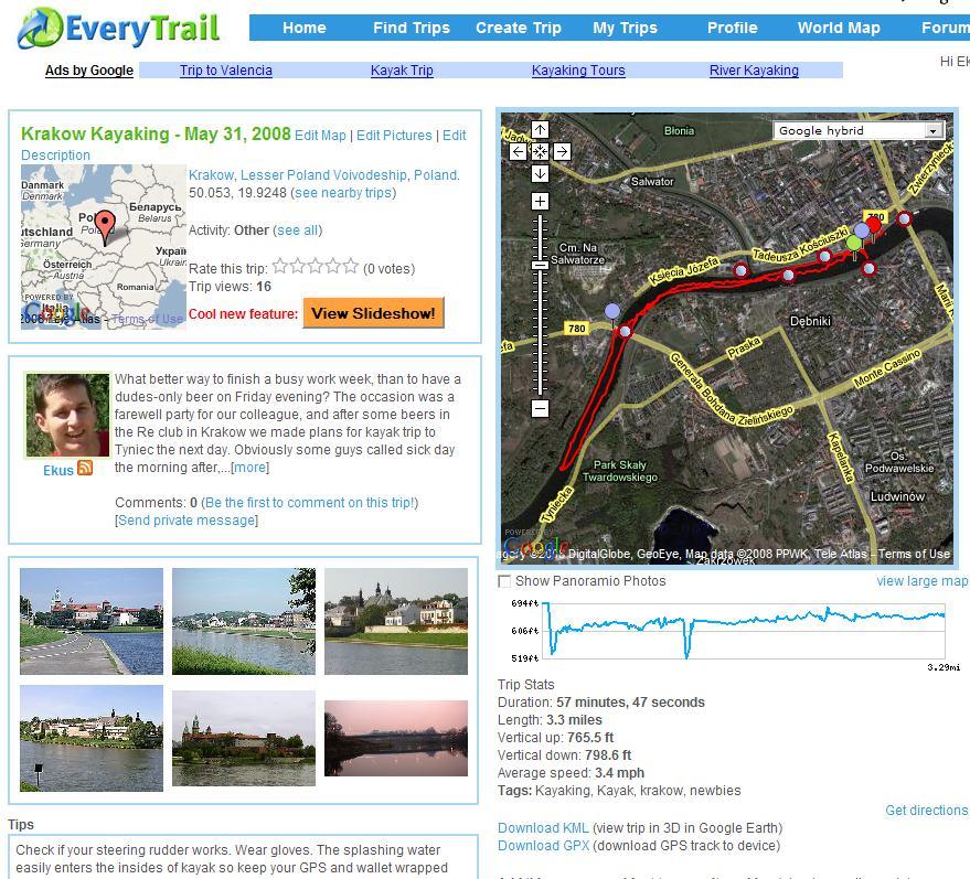 screenshot of everytrail.com