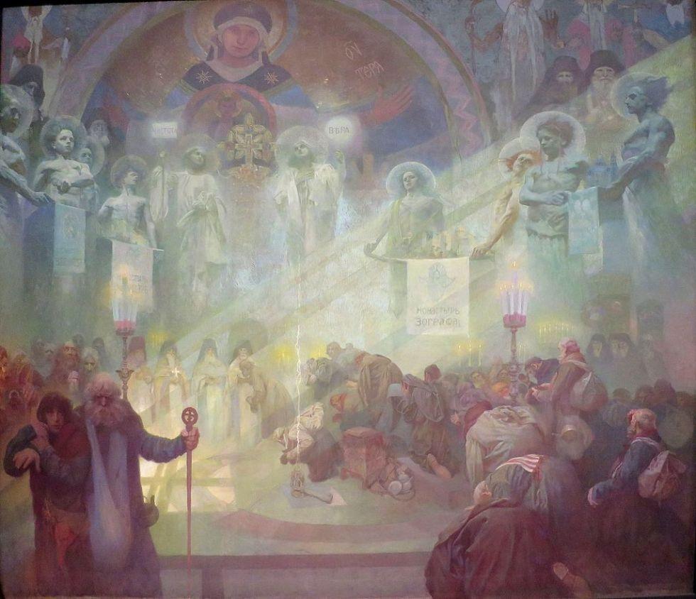 alphonse-mucha-slav-epic-17-the-holy-mount-athos-1926