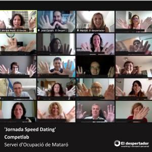 Imagen de la jornada de speed dating laboral con Maricel Ruiz, Miriam Martí i Joan Canals, de El despertador, con el equipo técnico del Servicio de Ocupación de Mataró, personas en búsqueda de trabajo y las empresas formadas en el sí del proyecto Competlab