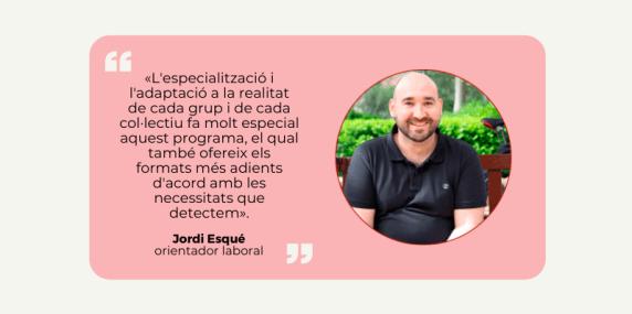 Cita de Jordi Esqué, orientador laboral d'El despertador sobre el programa d'Accions a Mida