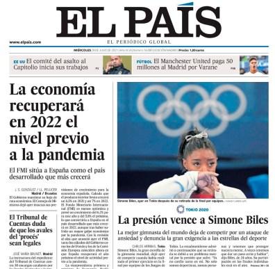 Simone Biles a la portada del diari El País