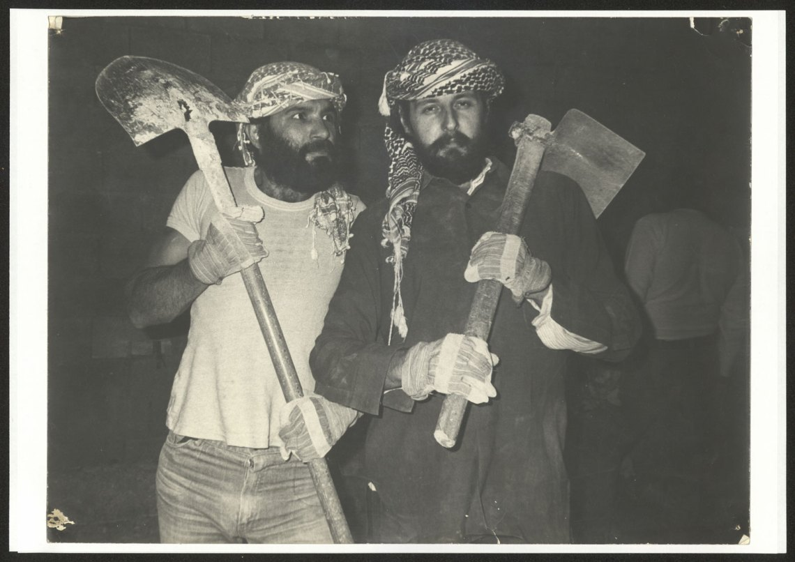 Francois Abu Salem and Radi Shehadeh, a member of the El-Hakawati theater's founders 1983