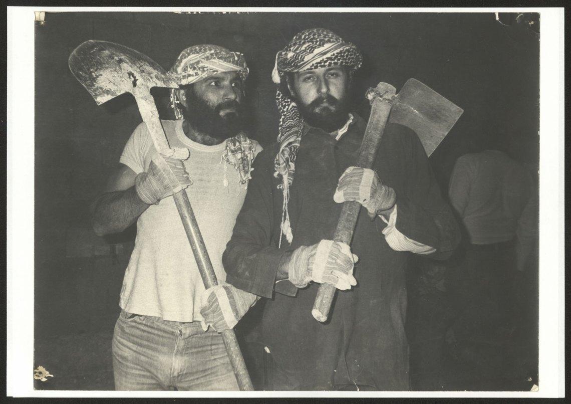 Francois Abu Salem and Radi Shehadeh, a member of the El-Hakawati theater's founders 1983