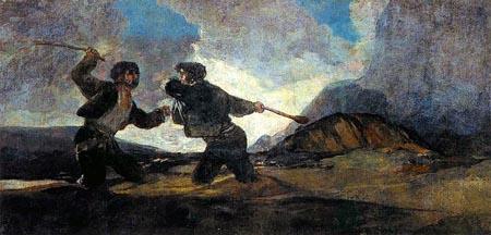 Riña a garrotazos, Goya