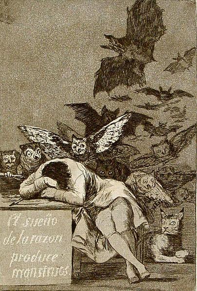 """Capricho 43: """"El sueño de la razón produce monstruos"""", Francisco de Goya y Lucientes"""