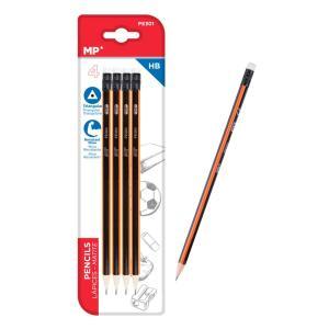 MP ξύλινο μολύβι με γόμα PE301, τρίγωνο, HB, 4τμχ | Αναλώσιμα - Είδη Γραφείου | elabstore.gr