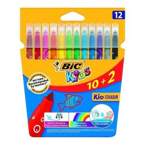 BIC σετ χρωματιστών μαρκαδόρων ζωγραφικής 216010322 KID Couleur, 12τμχ   Αναλώσιμα - Είδη Γραφείου   elabstore.gr