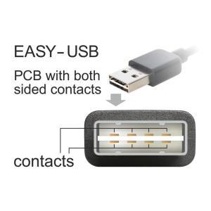 POWERTECH Καλώδιο USB 2.0 σε USB Micro 90°, Dual Easy USB, 2m, μαύρο | Αξεσουάρ κινητών | elabstore.gr