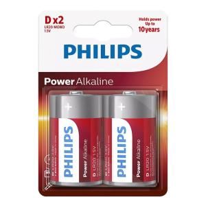 PHILIPS Power αλκαλικές μπαταρίες LR20P2B/10, Mono D LR20 1.5V, 2τμχ | Μπαταρίες | elabstore.gr