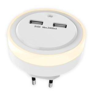 SONORA RING LIGHT USB NIGHT LIGHT WITH 2 USB PORTS, LIGHT SENSOR AND SWITCH   ΦΩΤΙΣΜΟΣ / ΗΛΕΚΤΡΟΛΟΓΙΚΑ   elabstore.gr