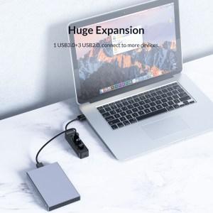 ORICO USB Hub TWU32-4A, 1x USB Type-C, 4x USB ports, μαύρο | Συνοδευτικά PC | elabstore.gr