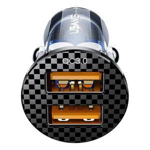 USAMS USB φορτιστής αυτοκινήτου US-CC122, 2x USB, 36W, διάφανος | Αξεσουάρ κινητών | elabstore.gr