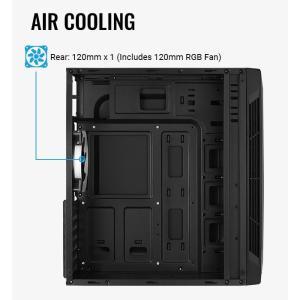 AEROCOOL PC case mid tower SPLIT-G-BK-V1, 192.5x412.5x392mm, 1x RGB fan | PC & Αναβάθμιση | elabstore.gr