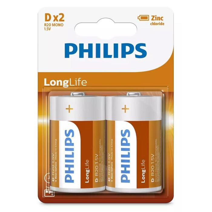 PHILIPS LongLife Zinq chloride μπαταρίες R20L2B/10, R20 1.5V, 2τμχ | Μπαταρίες | elabstore.gr