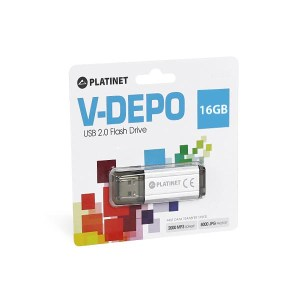 PLATINET USB 2.0 V-DEPO Flash Disk 16GB ασημί PMFV16S   Περιφερειακά   elabstore.gr