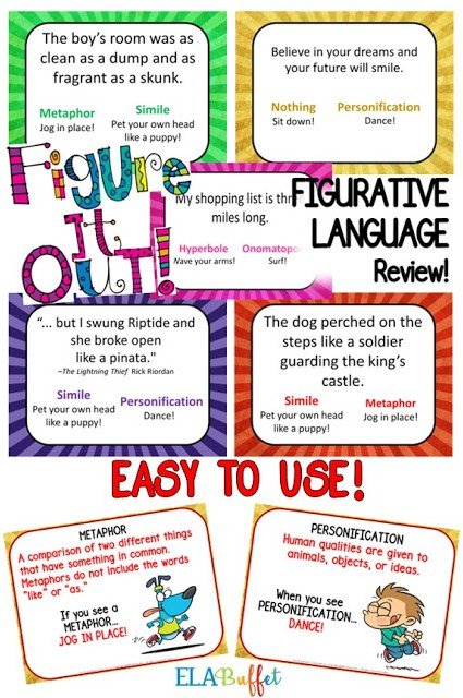Figurative Language Review Game for middle schoolers. Add movement to your figurative language review as kids play a game that matches specific moves to figurative language. Perfect for a sub day! #middleschool #figurativelanguagegame #figurativelanguage #literarydevicereview #middleschoollesson #middleschoolela