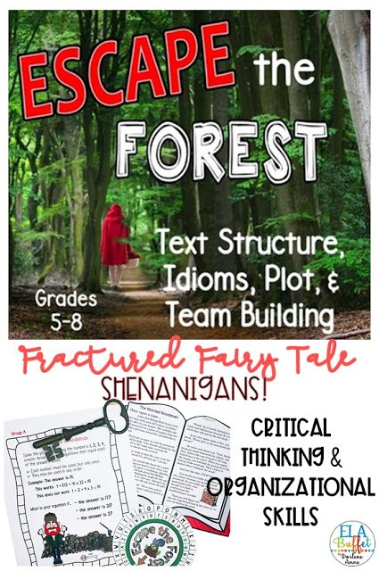 This adventure starts when your students see a mysterious girl in a red cape. They follow her into the woods and become lost. Now they have to work with an interesting cast of characters to figure out how to #ESCAPE! #closereading #middleschool #breakout #classroomescaperoom #FunELAActivity #teacher #middleschoollesson #teachtextstructure #textstructure #teambuilding #teachidioms #idioms #plot #middleschoolelalesson