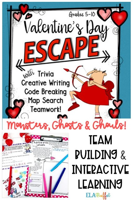Cupid has problems and won't let your students leave his candy factory unless they help him! Can they #ESCAPE? #Differentiated #closereading #creativewriting #valentineactivity #funpartyalternative #valentinepary #middleschool #breakout #classroomescaperoom #FunELAActivity #teacher #middleschoollesson #holidayfun #valentineescaperoom #teambuilding #middleschoolelalesson #creativewriting