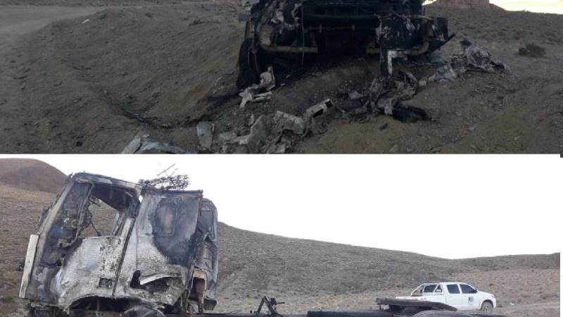 Camión incendiado en área minera