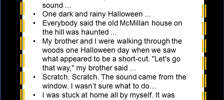 halloween story starters and acrostic poem middle school ela - Halloween Short Stories Middle School