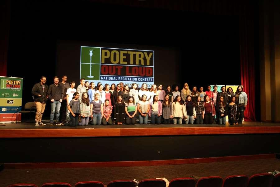 Foto grupal Poetry Out Loud School Champions 2016-2017 (9na edición)