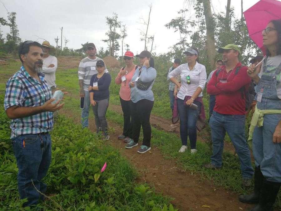 Agricultura - Foto 3-Dr. Oscar Abelleira ofrece parte de su taller en la finca Alzamora
