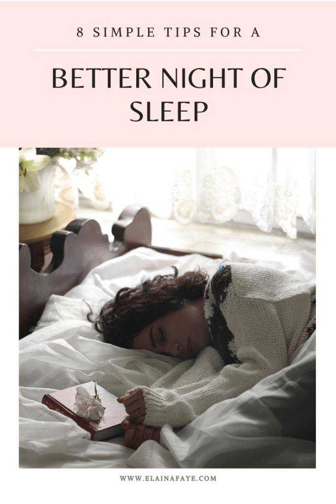Having trouble sleeping at night? Check out these 8 simple tips that will help you fall asleep faster and stay asleep. You will find natural sleep remedies, yoga poses for sleeping, drinks that help you sleep, and much more. Check it out HERE! #sleep #selfcare