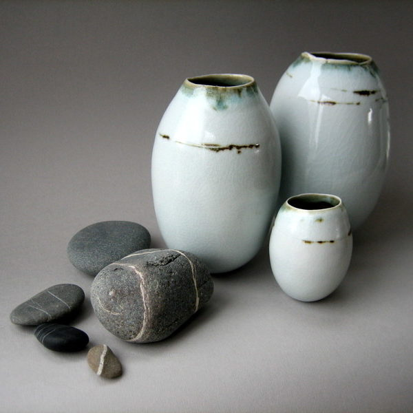 Elaine Bolt, 'Dwelling' vessels - group of three with pebbles