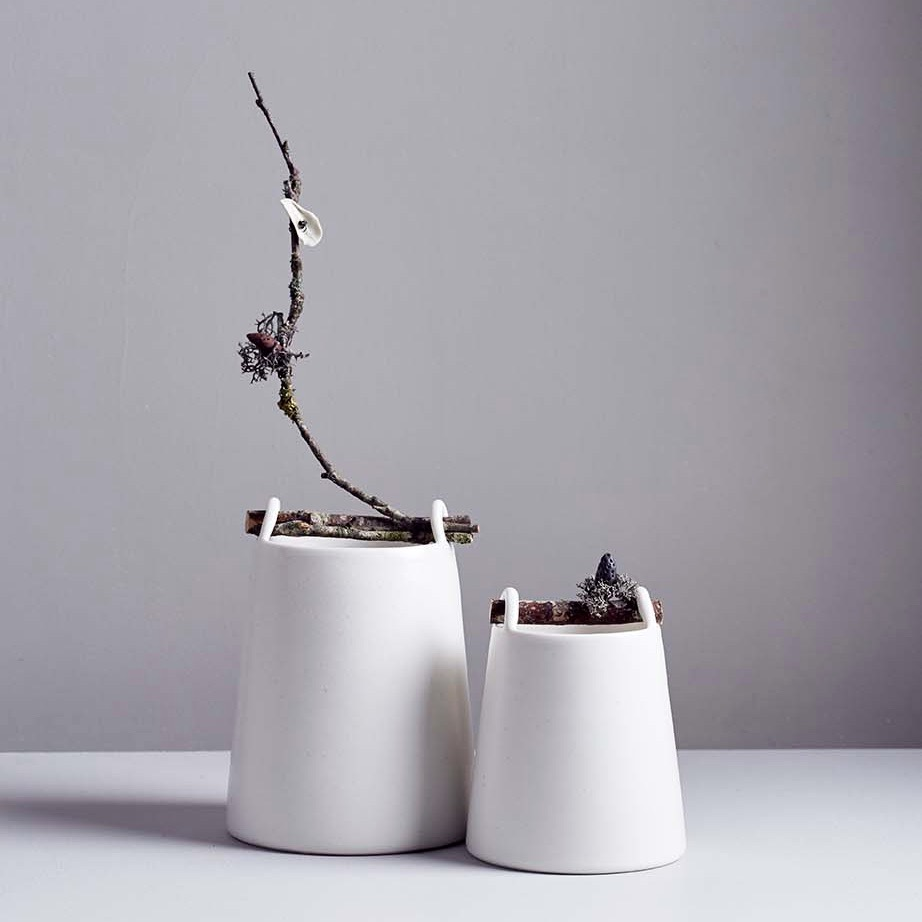 Chalk White Woodland Vessels by Elaine Bolt