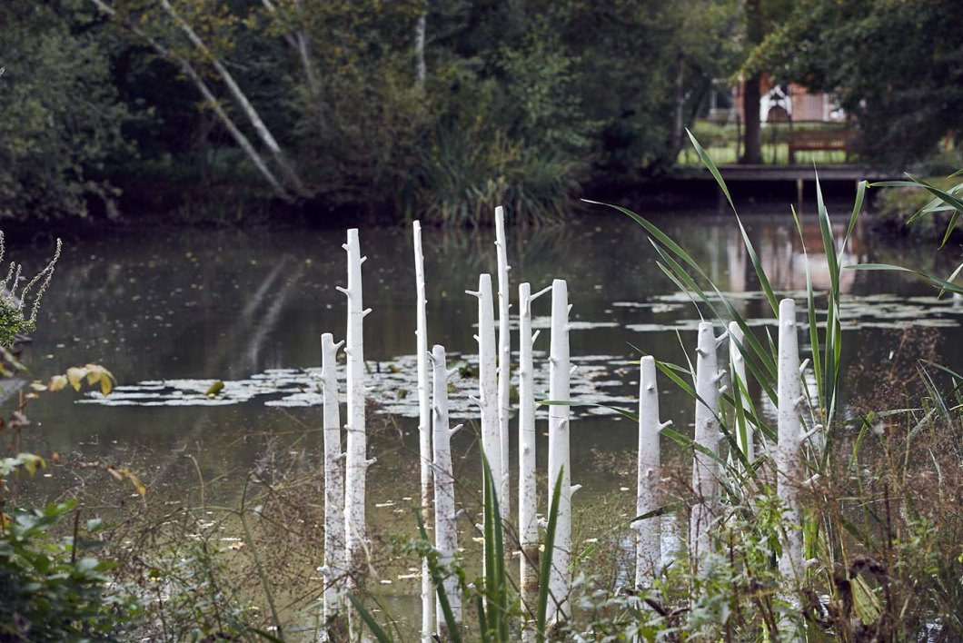 Trees sculpture installation, by Elaine Bolt, at The Pond House, Isfield, photographed by Alun Callender
