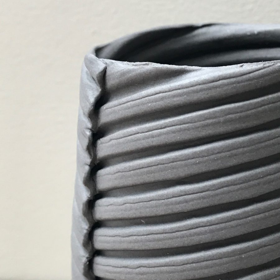 Elaine Bolt ceramics with corrugated texture