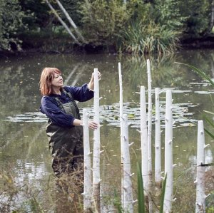 Ceramic artist Elaine Bolt and her tree installation at The Pond House, Isfield, photographed by Alun Callender
