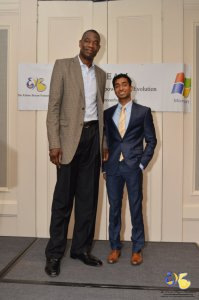 North Springs valedictorian Sanjay John poses with NBA legend Dikembe Mutombo at The Elaine Bryan Foundation 2016 Inspirational Luncheon & Awards Ceremony