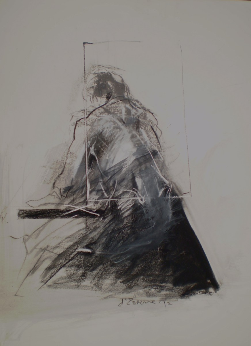 Human figure titled Figure in the Drawing, 2012, life drawing of female model combined with visual elements of the artist's gaze