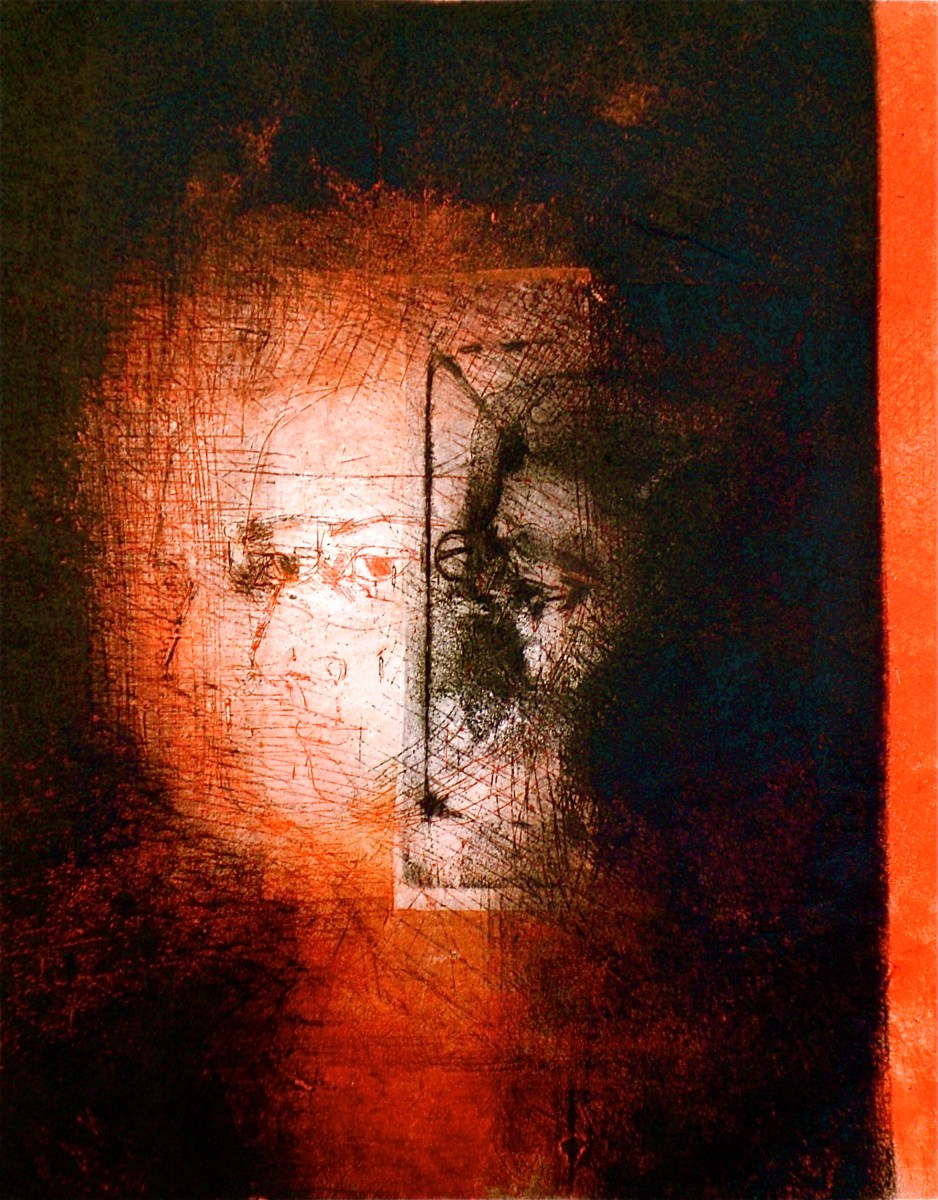 Portrait double titled The Keyhole Image 2, 2009, contemporary double portrait combined fragmented figurative forms with visual elements of the artist's gaze by Elaine d'Esterre from Natalie with the Gaze and the Glance series