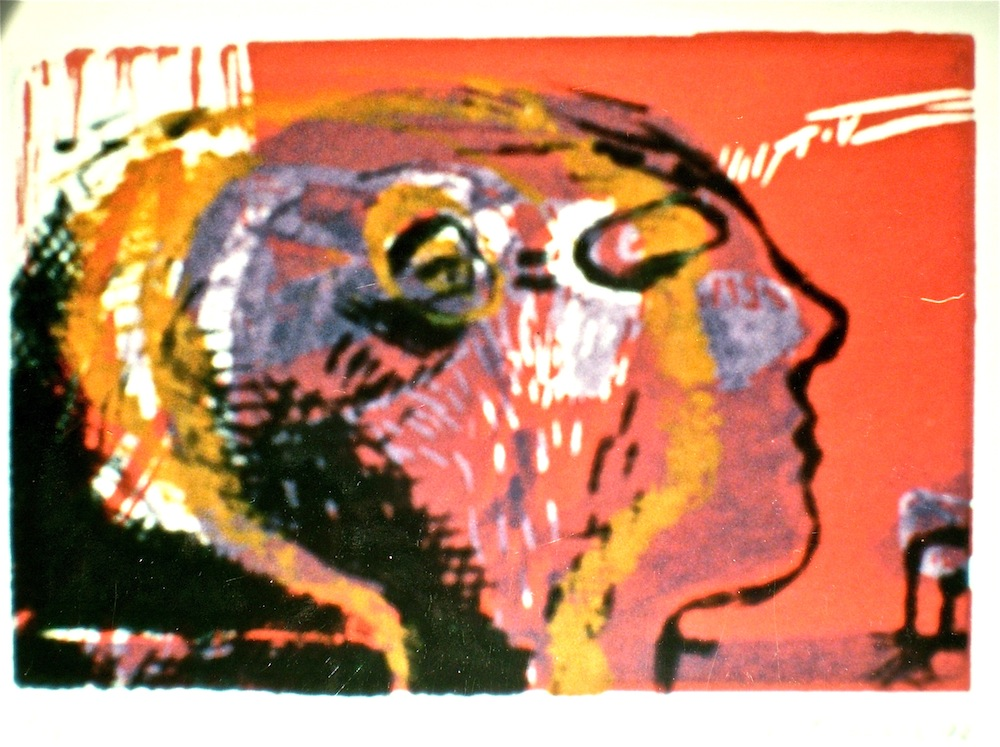 Head profile titled Identity 2, 1992, 8x12 cm, intaglio and relief