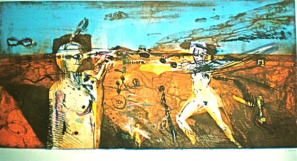 Figures in an Outback landscape titled Women of the Interior, 1992, 63x130 cm, collograph and monoprint